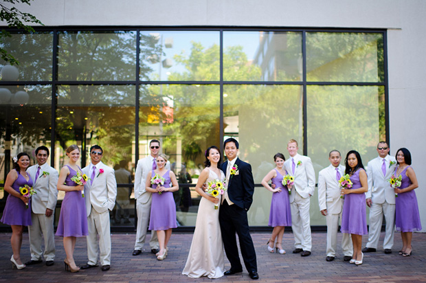 Bridal party in front of the Sheraton Hotel Iowa City