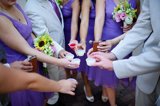 Bridal party doing jello shots