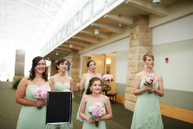 bridesmaids with tea green dresses