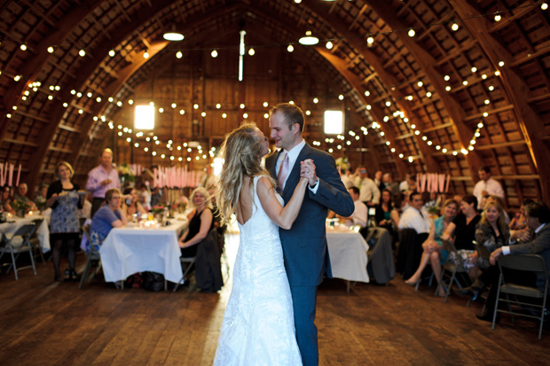 bride and groom dancing at the Simpson Barn