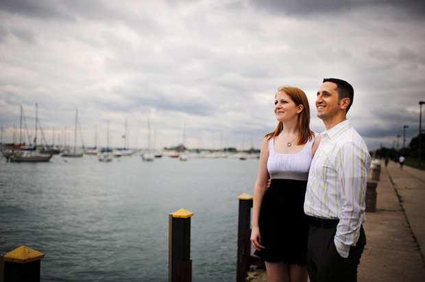 Engagement portraits on the pier in Chicago