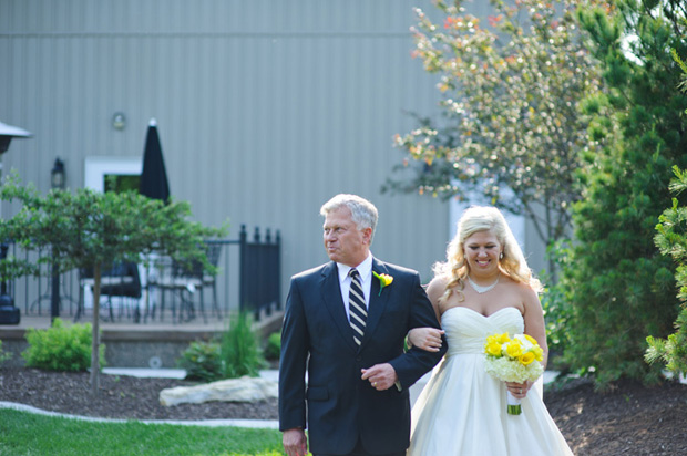 Father escorting the bride to the alter at Bella Sala Iowa City