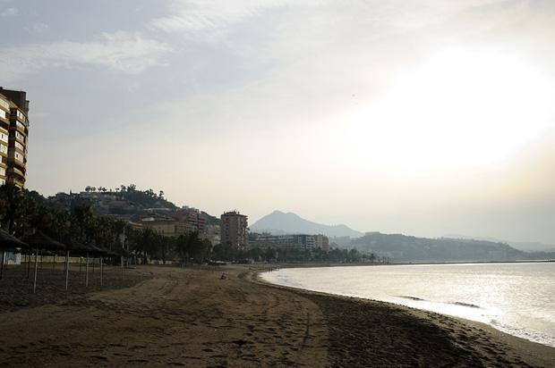 Malaguena beach in Malaga early morning