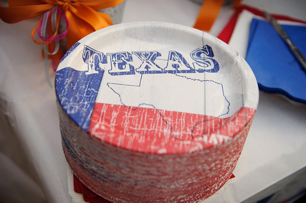 Paper plates for a texas themed wedding rehearsal dinner.