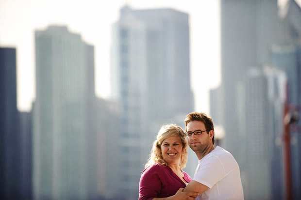 Urban engagement session with the Chicago skyline as the background