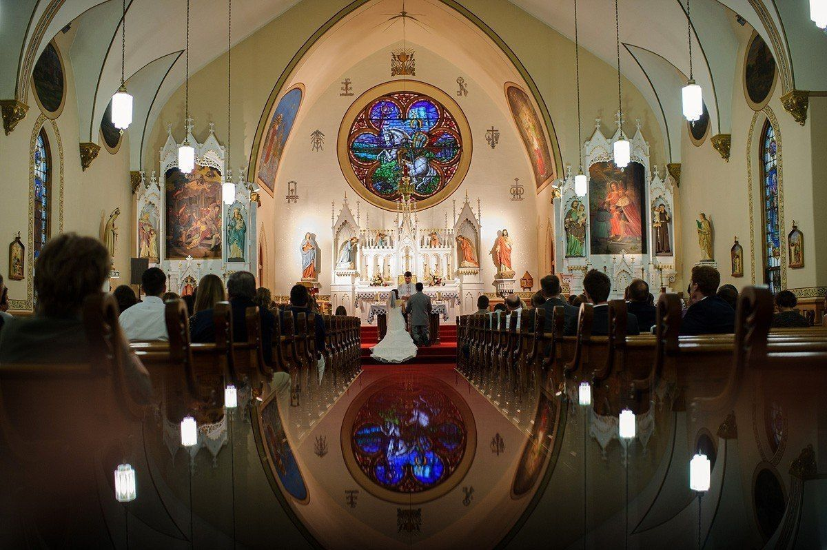 the wedding ceremony at St. Wenceslaus Catholic Church