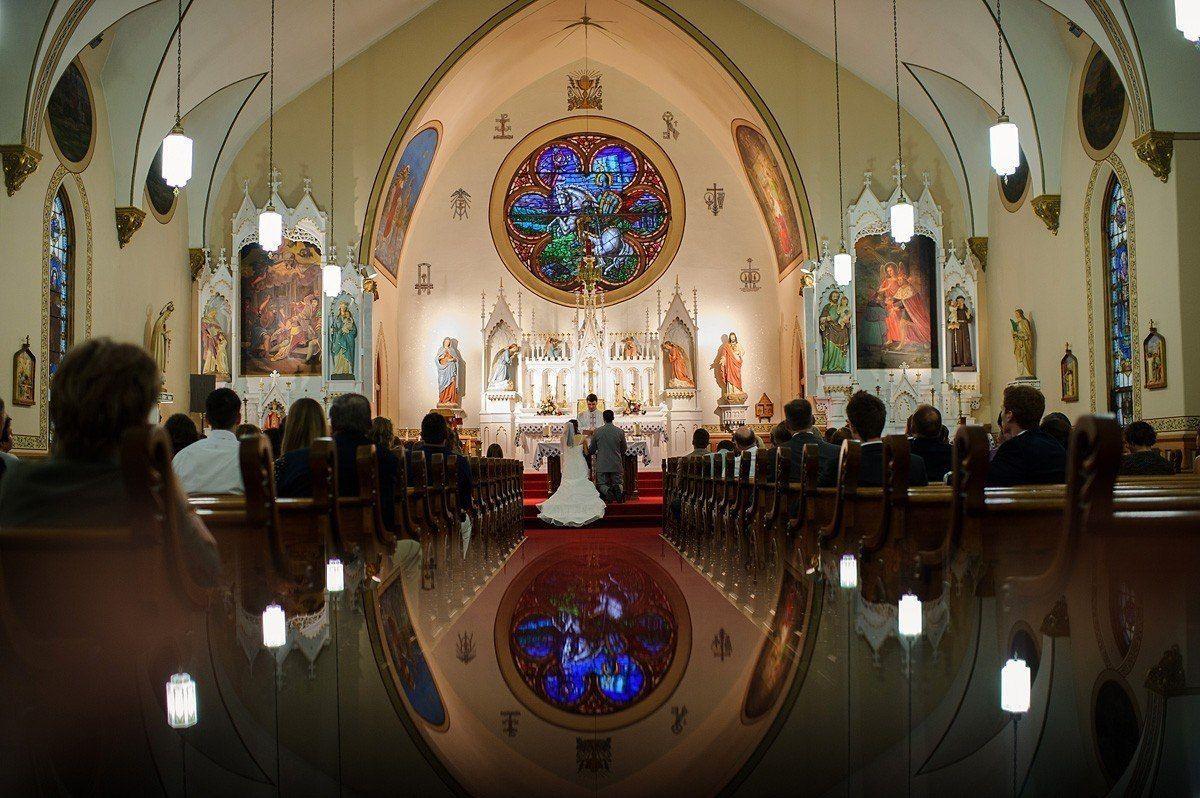 the wedding ceremony at St. Wenceslaus Catholic Church