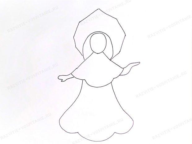 Cum de a desena o fetiță de zăpadă cu creioane și vopsele în etape