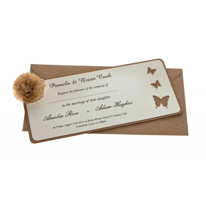 Brown Kraft Card Laser Cut Wedding Invitations Belle Femme Same An Available From Razzle Dazzle Rose