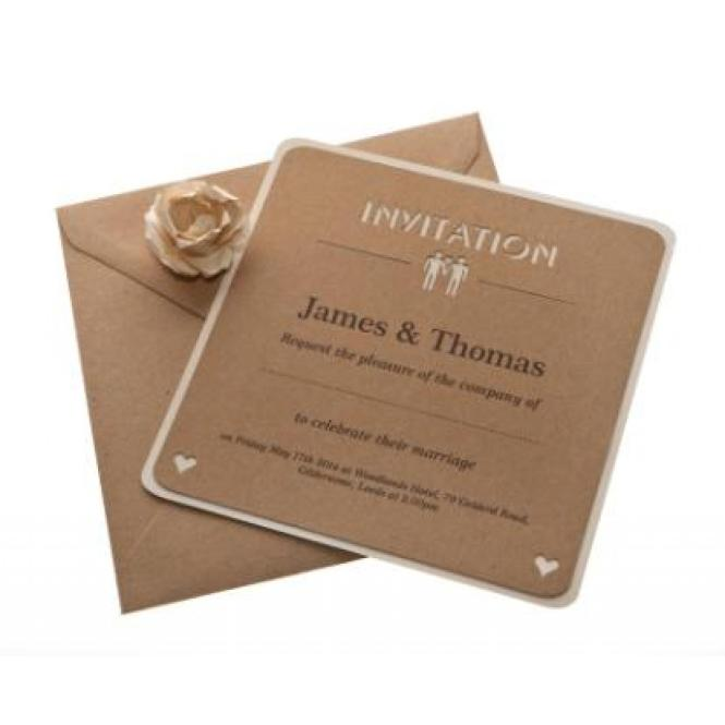 Brown Kraft Card Laser Cut Wedding Invitations Fl X 25 Available From Razzle Dazzle Rose
