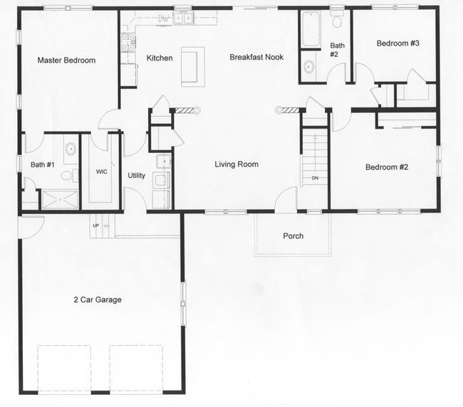 2 Bedroom Ranch Floor Plans
