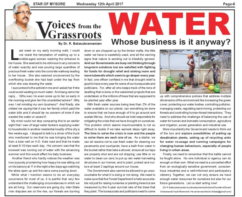 Water...SOM article