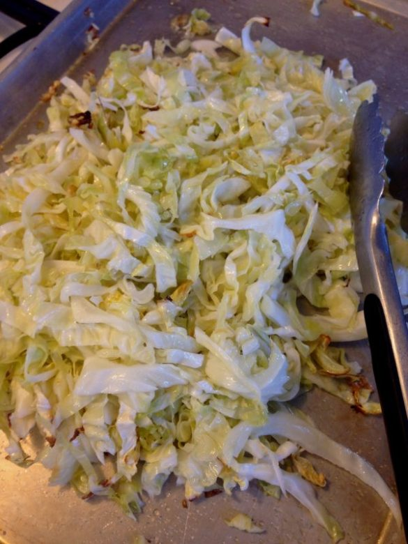 oven roasted cabbage and warm slaw