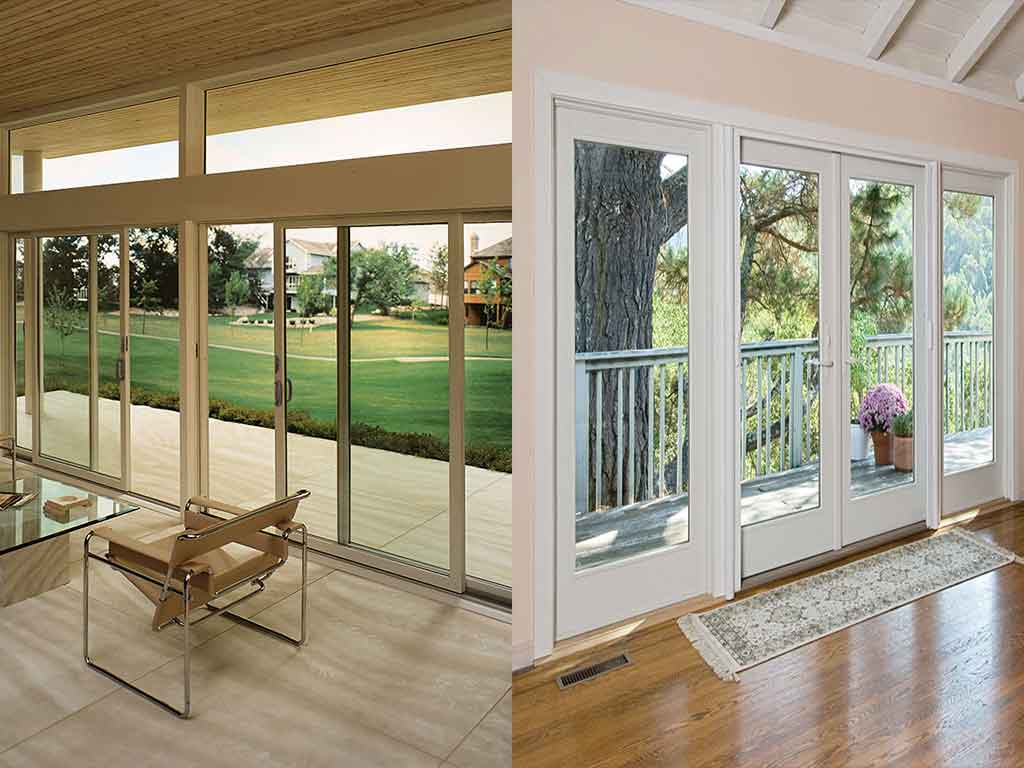 use sliding patio or hinged french doors