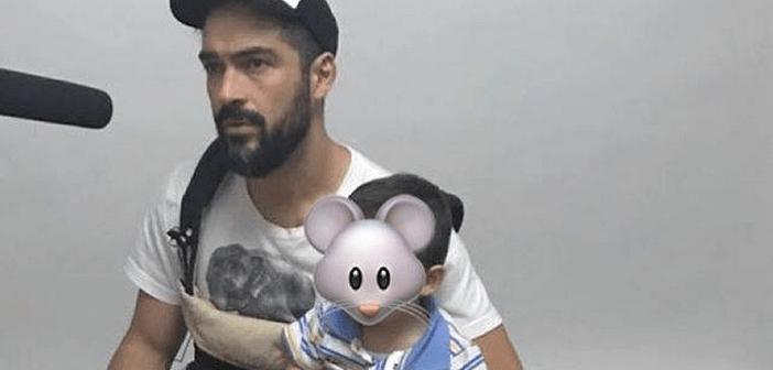 Alfonso Herrera leva seu filho para o trabalho