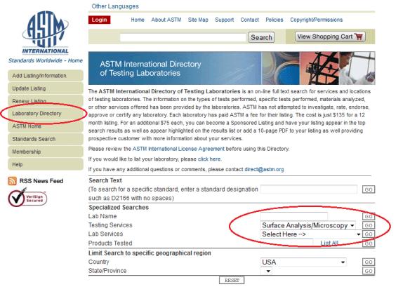ASTM Laboratory Directory