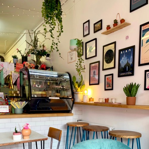 what I've been doing, reading and watching: obviously visiting lots of cafes. This picture shows a gallery wall in a cafe