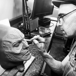 John Wrightson sculpting a Giger inspired design for RBFX