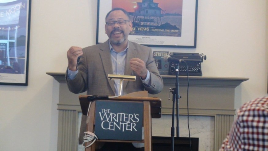 """Robert J. Williams, author of """"Strivers and Other Stories"""" reading at the Writets' Center, Bethesda, MD"""