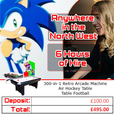 Arcade Games Package hire pricing graphic