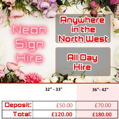 Neon Sign hire pricing graphic