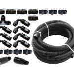 Torque Solution Braided Fuel Line Kit for -6 Aeromotive FPR & Flex Fuel Kit – 02-14 Subaru WRX, TS-SU-6FLK-AM-FF