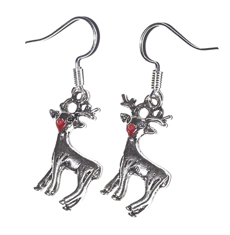 Rudolph Red Nosed Reindeer Christmas Silver Earrings