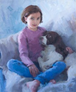 An oil portrait of a young girl and her spaniel