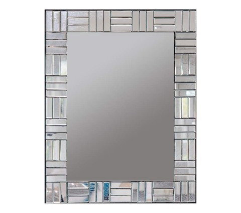 Rectangular handcrafted decorative glass mirror with tiled beveled glass frame.
