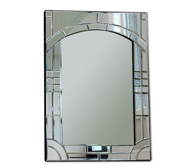 Large rectangular glass wall mirror with a beautifully deatailed beveled glass frame for vanity mirrors.
