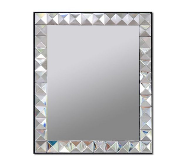 Decorative wall mirror with beveled glass and mirrored glass pyramid-design frame.