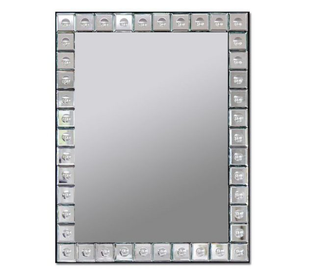 Glass wall mirror with beveled glass and a bubble-glass design pattern frame.