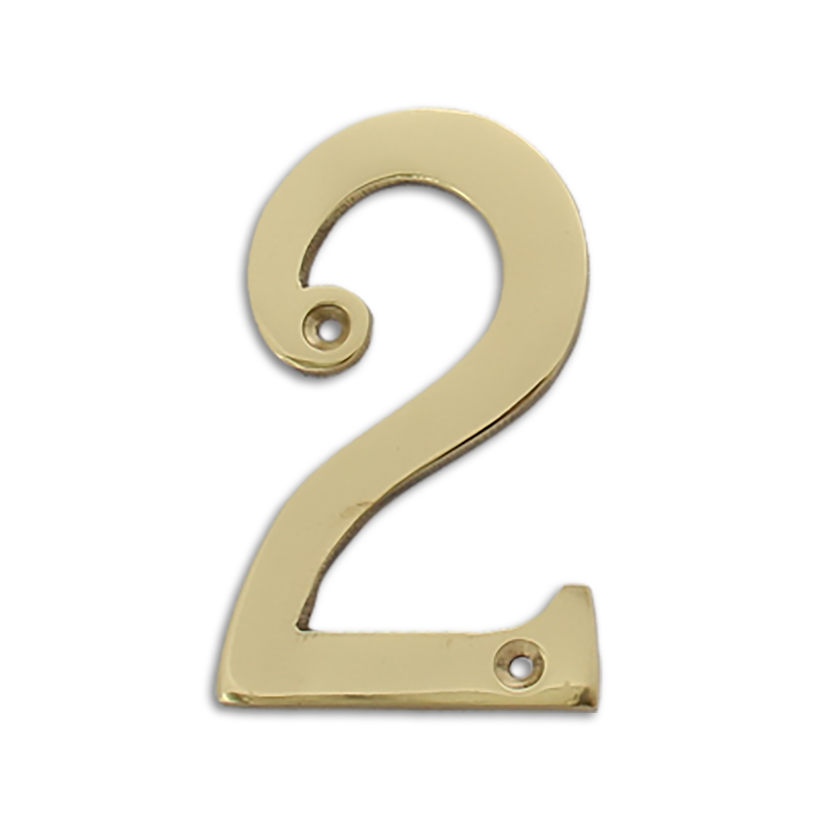 4-inch brass metal house number in polished brass finish - metal number 2