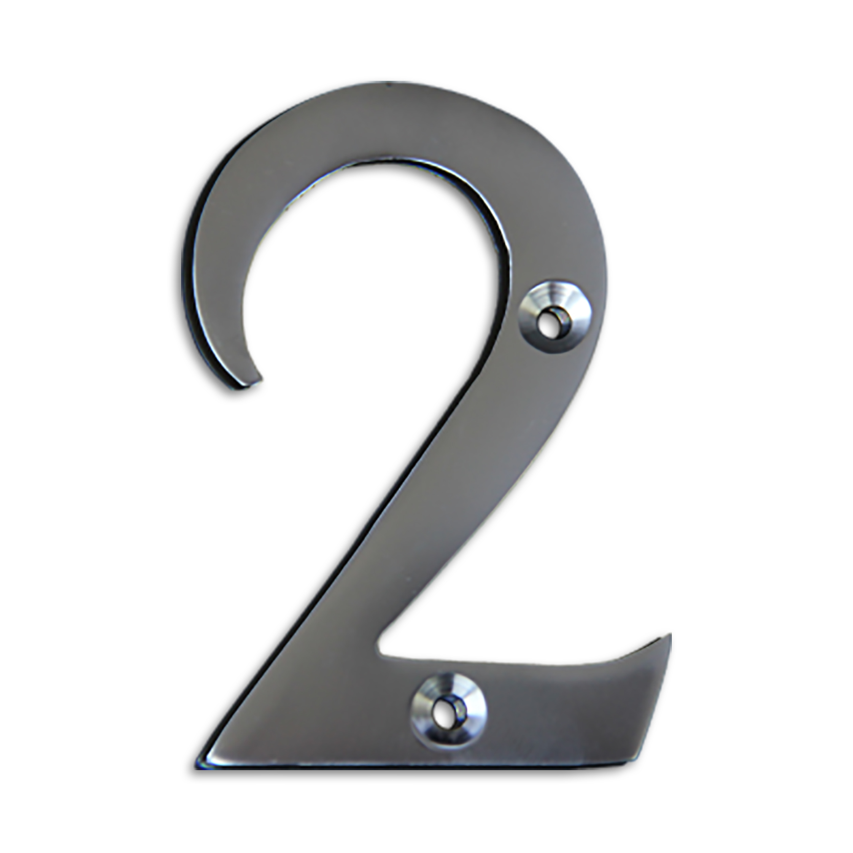 3-inch brass metal house number in satin chrome finish - metal number 2