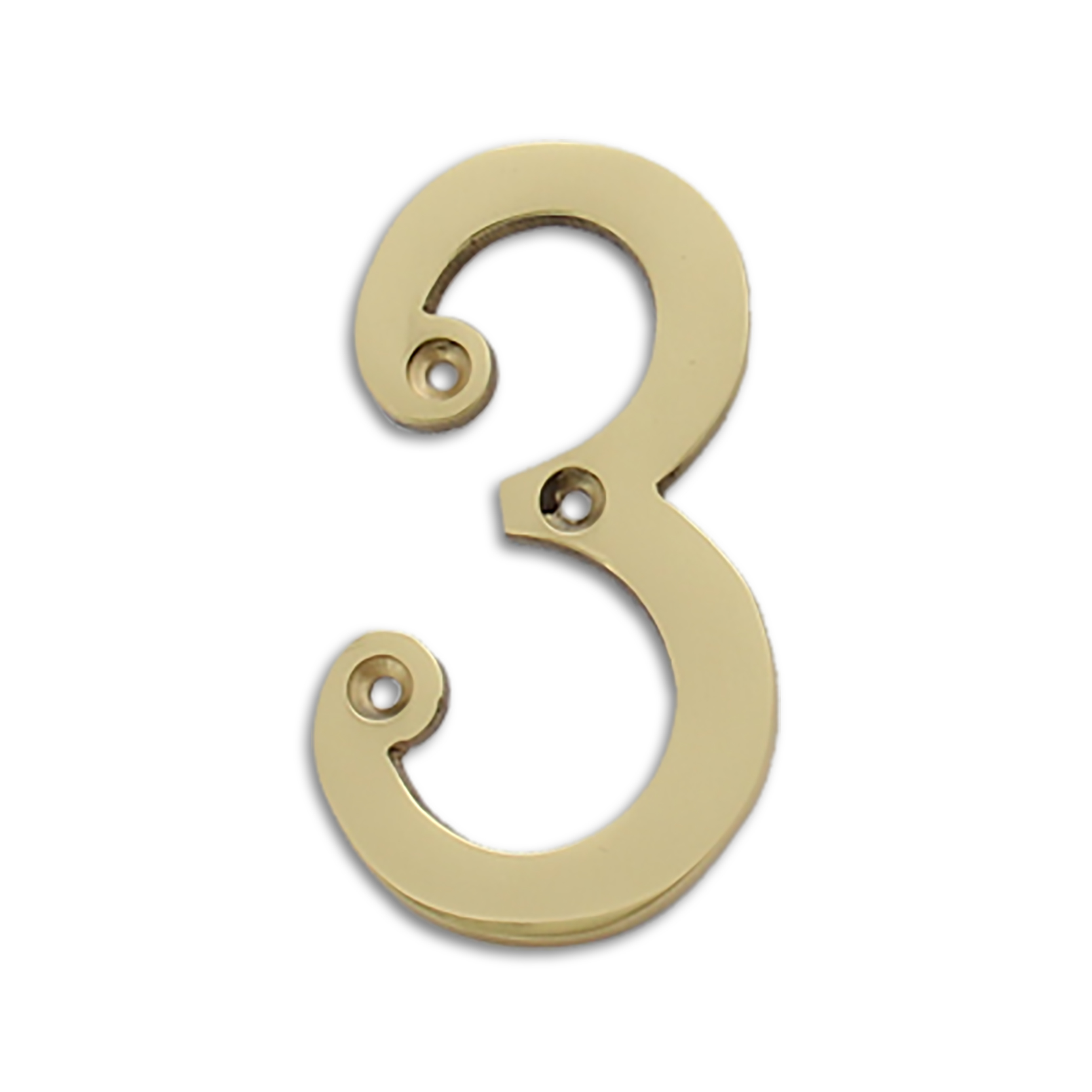 4-inch brass metal house number in polished brass finish - metal number 3