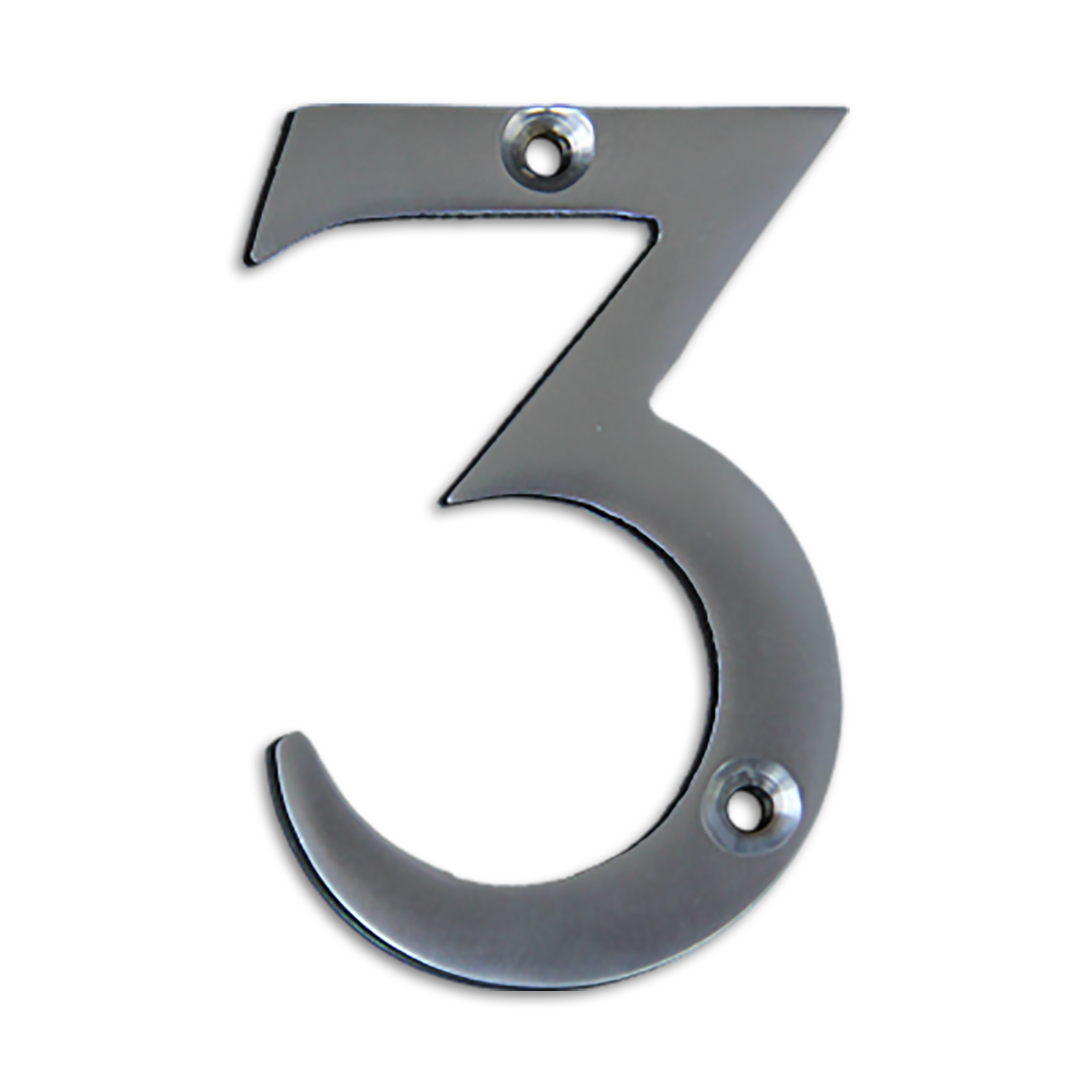 3-inch brass metal house number in satin chrome finish - metal number 3