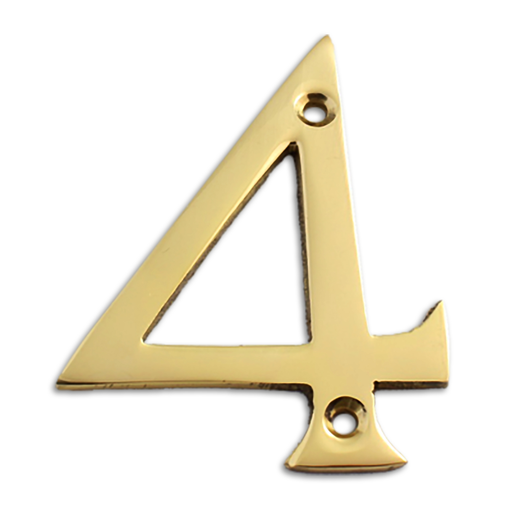 3-inch brass metal house number in polished brass finish - metal number 4