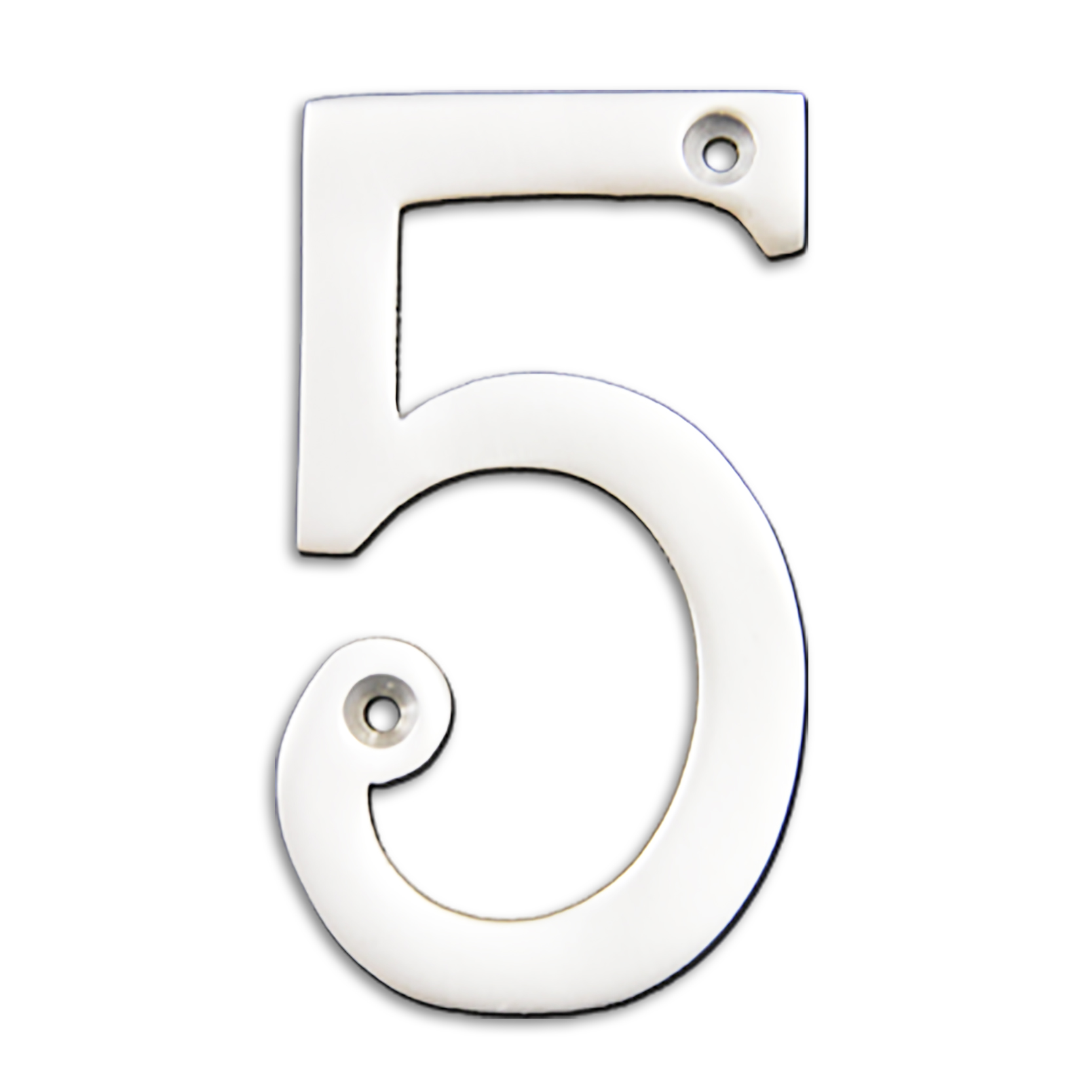 4-inch brass metal house number in polished chrome finish - metal number 5