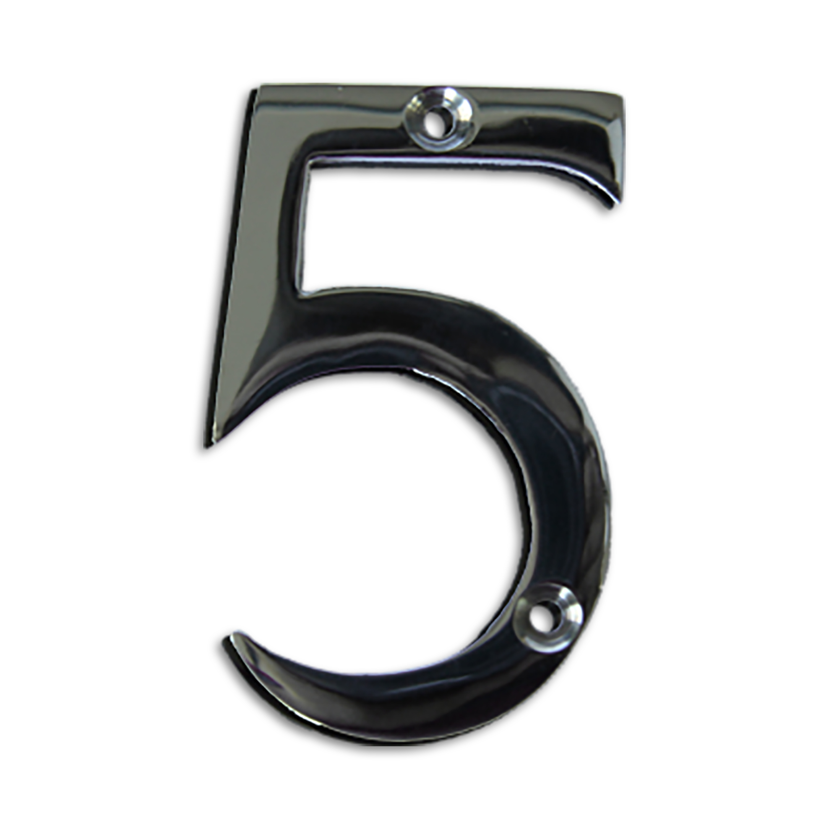 3-inch brass metal house number in polished chrome finish - metal number 5