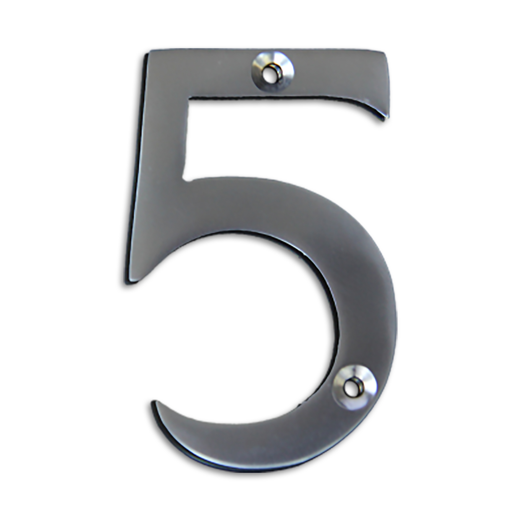 3-inch brass metal house number in satin chrome finish - metal number 5