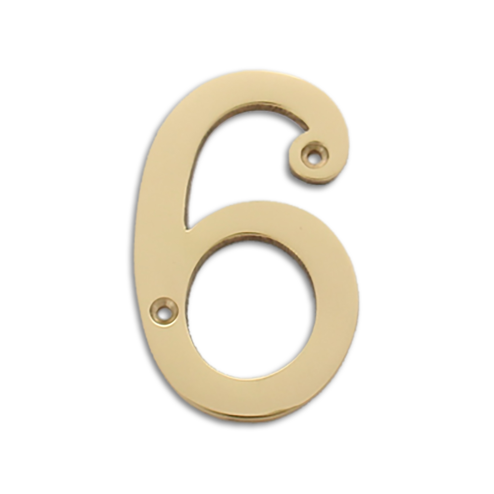 4-inch brass metal house number in polished brass finish - metal number 6