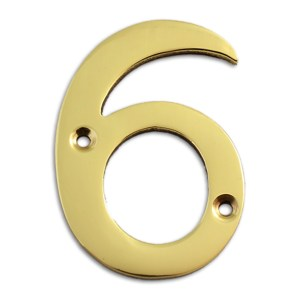3-inch brass metal house number in polished brass finish - metal number 6