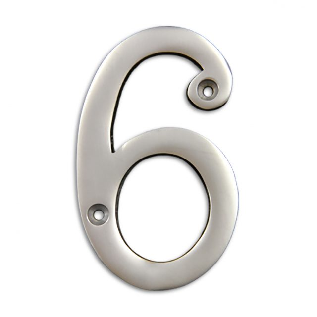 4-inch brass metal house number in satin chrome finish - metal number 6