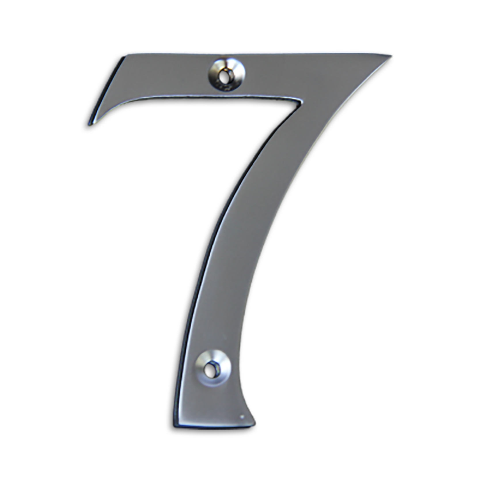 3-inch brass metal house number in satin chrome finish - metal number 7