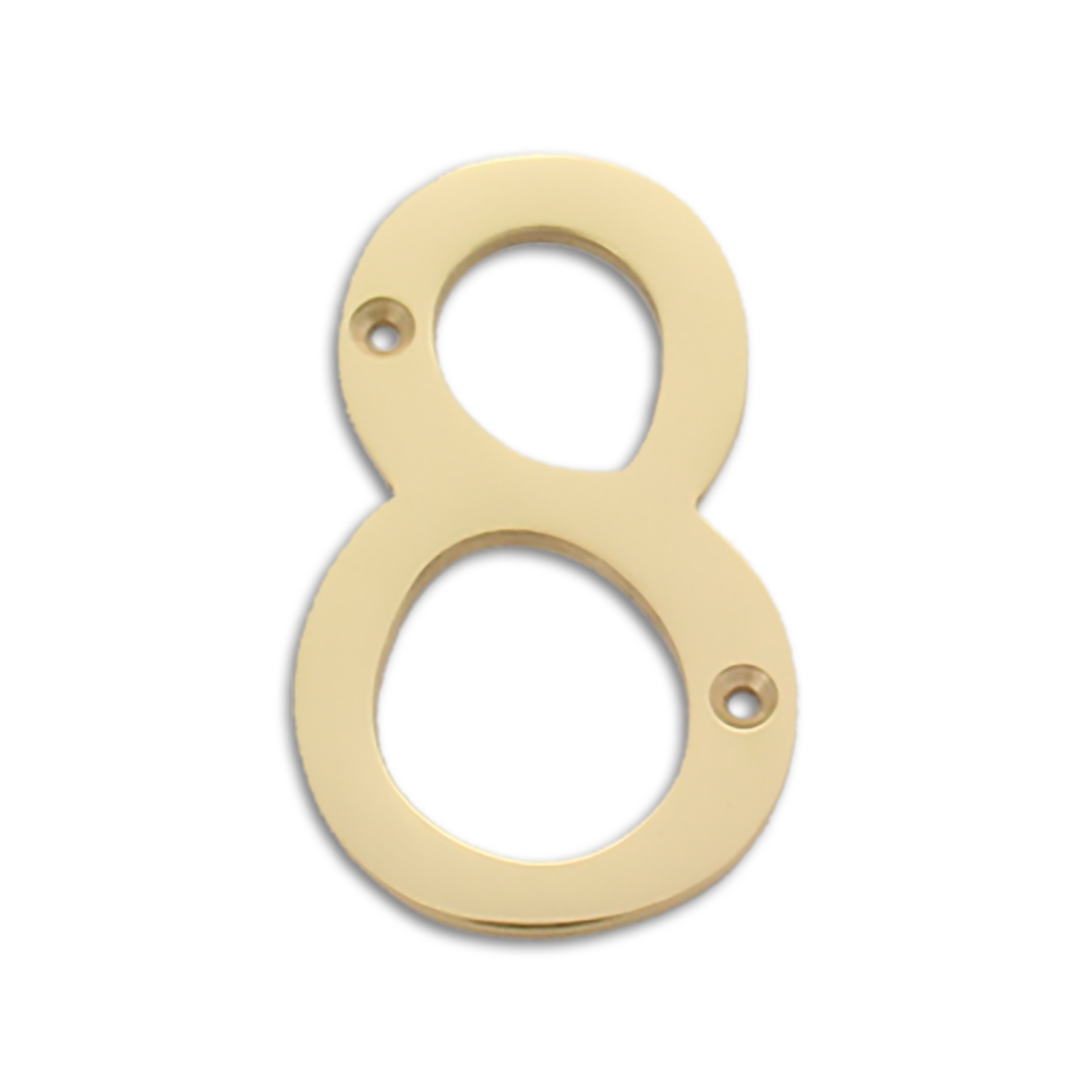 4-inch brass metal house number in polished brass finish - metal number 8