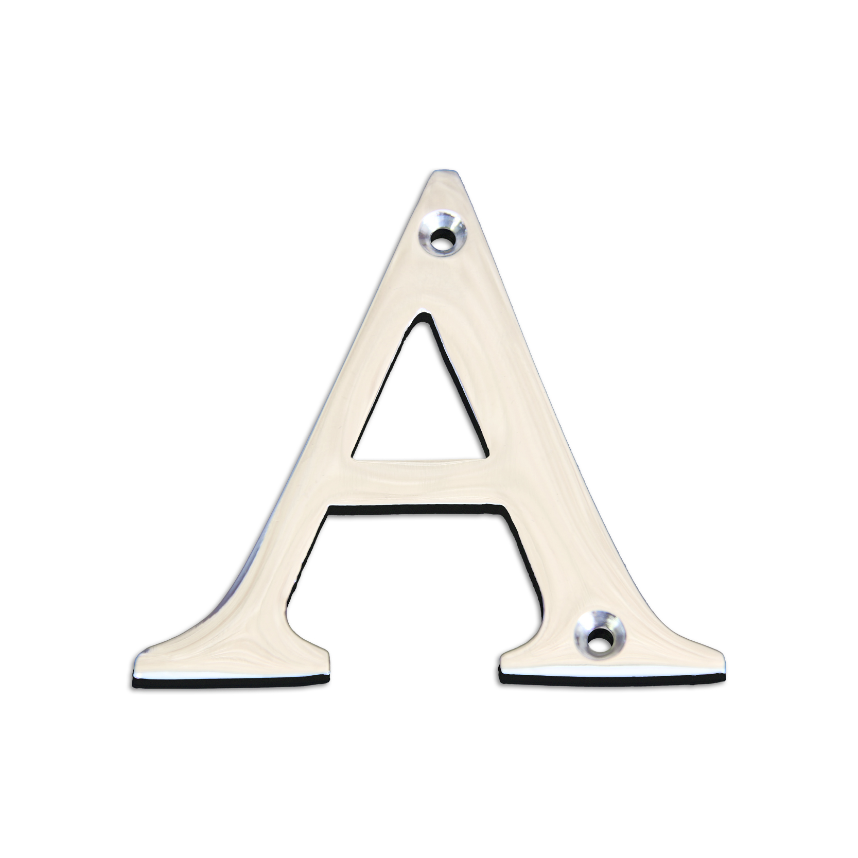 Brass metal letter A in polished chrome finish.