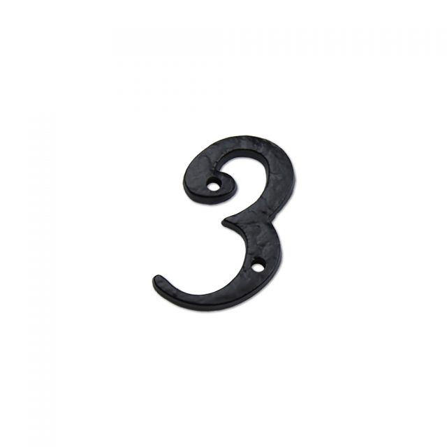 2-inch iron metal house number in black finish - metal number 3