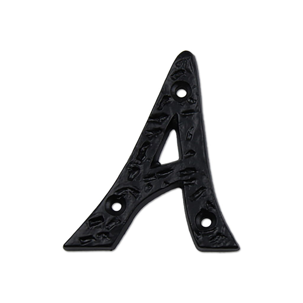 Iron metal letter A in black iron finish.