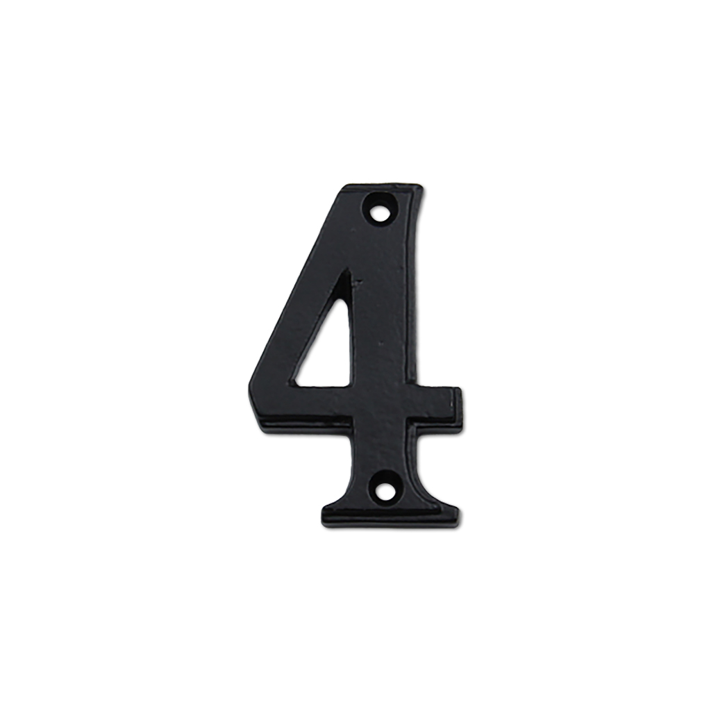 2.75-inch iron metal house number in iron black finish - metal number 4
