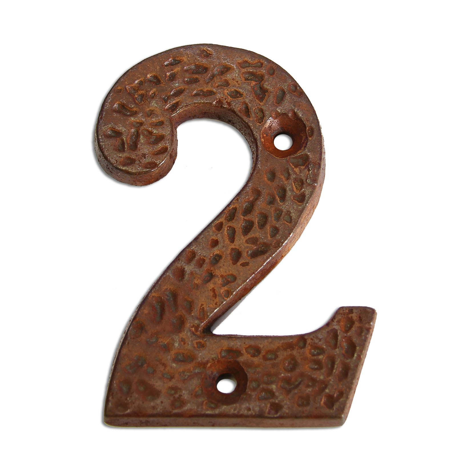 3-inch iron metal house number in rustic country finish - metal number 2